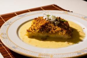Baked Cod , herb crust.